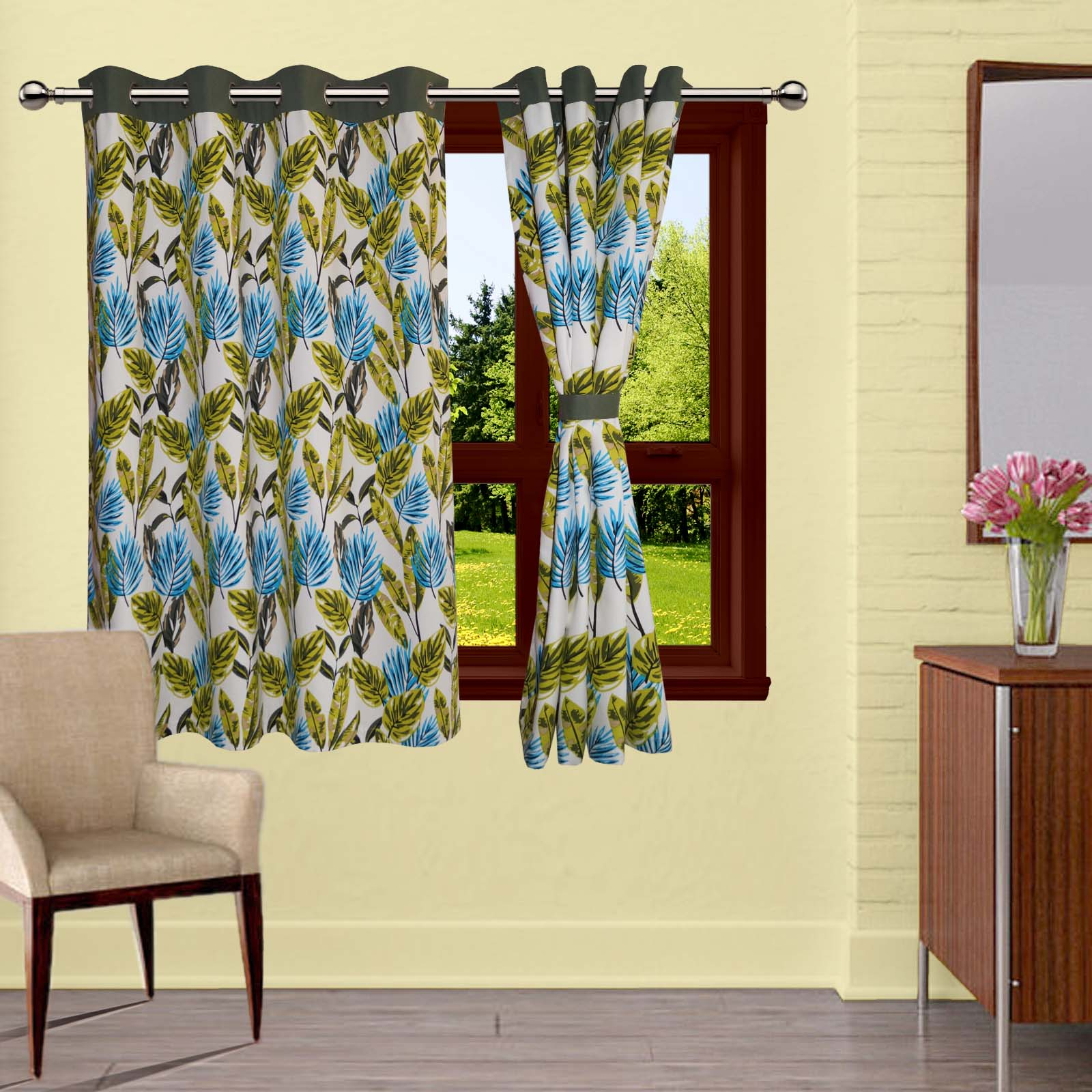 Lushomes Forest Printed Cotton Curtains with 8 Eyelets & Plain Tiebacks for Windows (Single Pc)