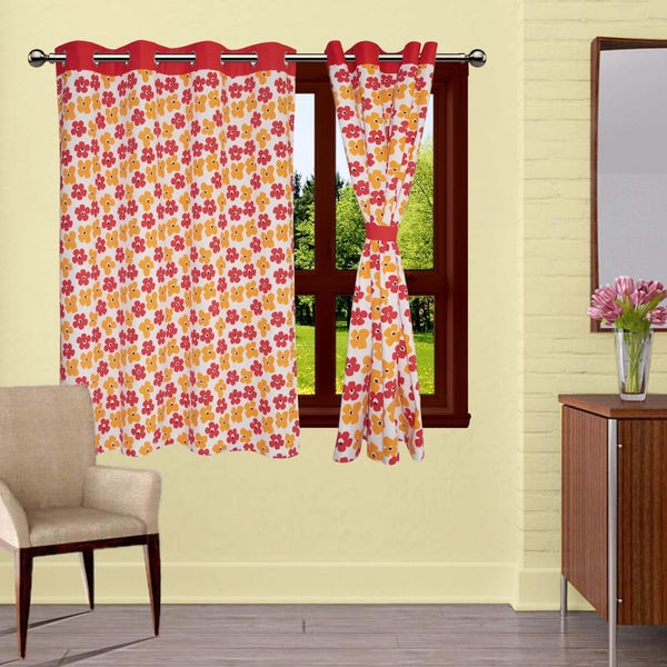 Lushomes Basic Printed Cotton Curtains with 8 Eyelets & Plain Tiebacks for Windows (Single Pc)