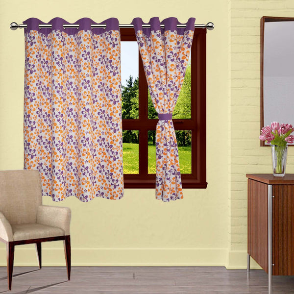 Lushomes Shadow Printed Cotton Curtains with 8 Eyelets & Plain Tiebacks for Windows (Single Pc)