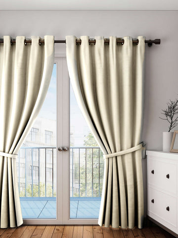"Lushomes Ecru Plain Cotton Curtains With 8 Eyelets for Door (Size: 54"" x 90"", Single pc)"