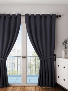 "Lushomes Pirate Black Plain Cotton Curtains With 8 Eyelets for Door (Size: 54"" x 90"", Single pc)"