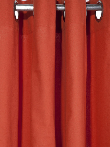 "Lushomes Red Wood Plain Cotton Curtains With 8 Eyelets for Door (Size: 54"" x 90"", Single pc)"