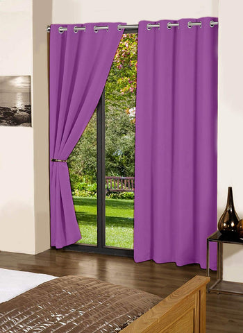 "Lushomes Royal Lilac Plain Cotton Curtains With 8 Eyelets for Door (Size: 54"" x 90"", Single pc)"