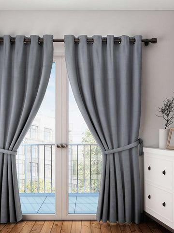 "Lushomes Sedona Sage Plain Cotton Curtains With 8 Eyelets for Door (Size: 54"" x 90"", Single pc)"