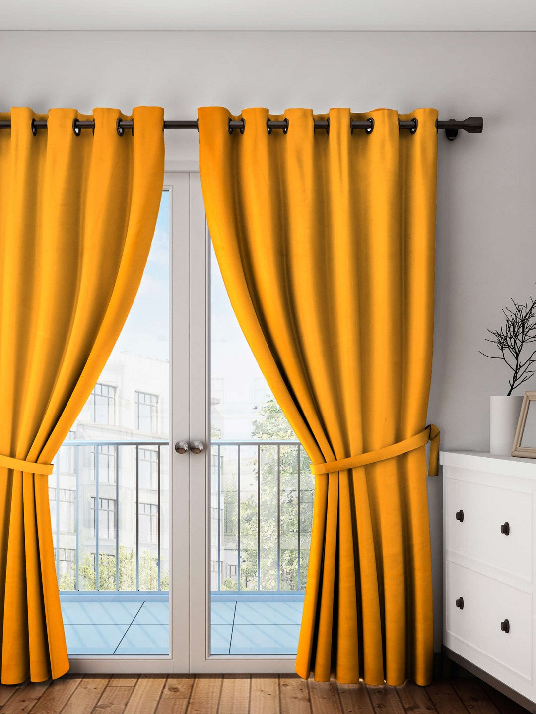Lushomes Sun Orange Plain Cotton Curtains With 8 Eyelets for Long Door
