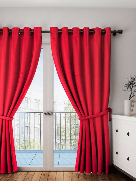 "Lushomes Tomato Plain Cotton Curtains With 8 Eyelets for Door (Size: 54"" x 90"", Single pc)"