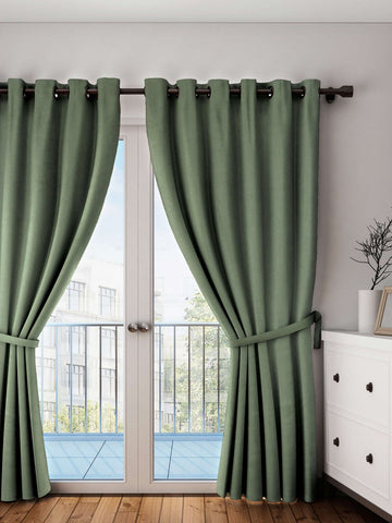 "Lushomes Vineyard Green Plain Cotton Curtains With 8 Eyelets for Door (Size: 54"" x 90"", Single pc)"
