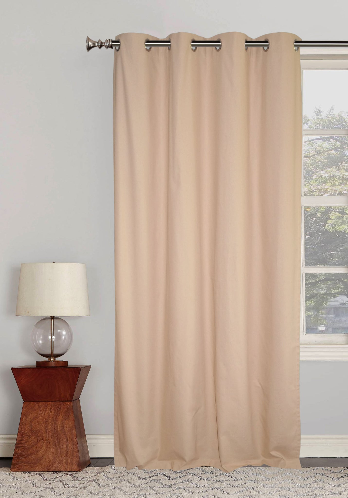 "Lushomes Ultra Soft & Premium Cotton Beige Door Curtain with 8 metal eyelets and tieback, Size: 54""x90"" (single pc)"