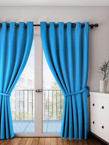 Lushomes Bachelor Button Plain Cotton Curtains With 8 Eyelets for Long Door