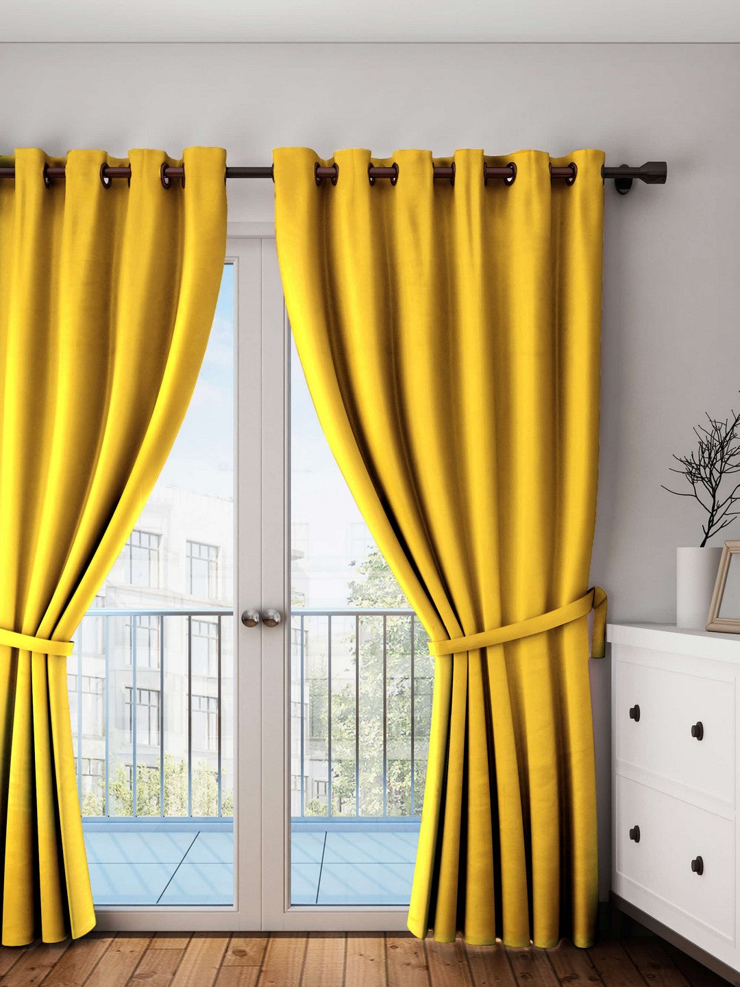 Lushomes Lemon Chrome Plain Cotton Curtains With 8 Eyelets for Long Door