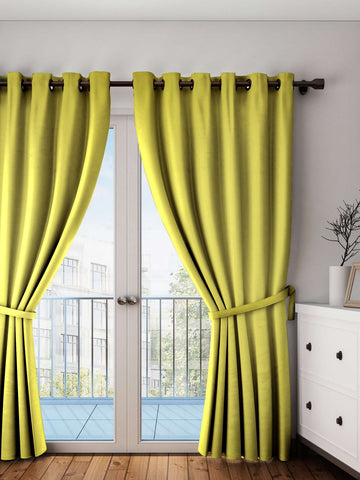Lushomes Palm Plain Cotton Curtains With 8 Eyelets for Long Door