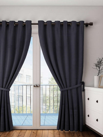 Lushomes Pirate Black Plain Cotton Curtains With 8 Eyelets for Long Door