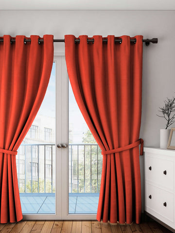 Lushomes Red Wood Plain Cotton Curtains With 8 Eyelets for Long Door