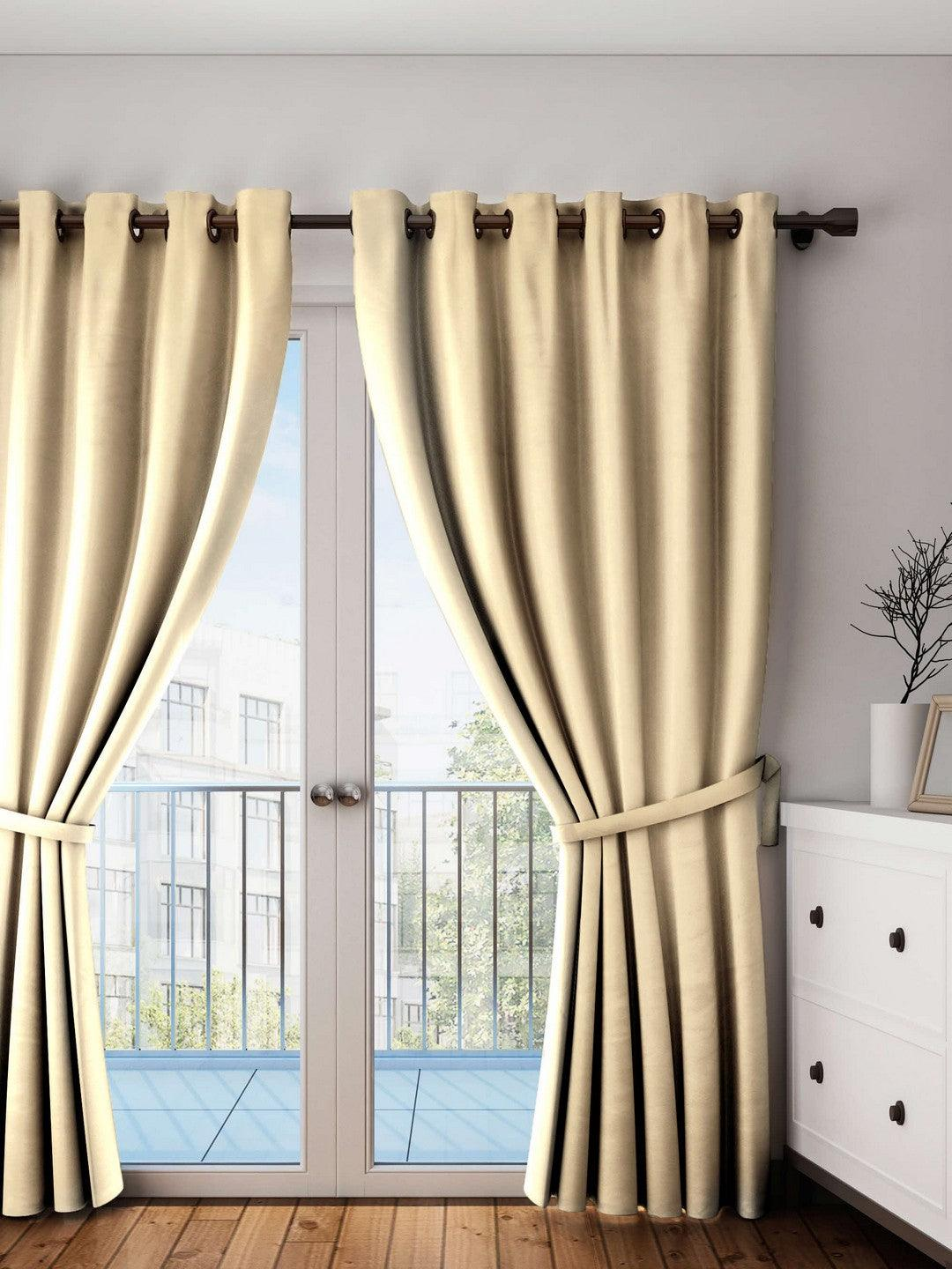 Lushomes Sand Plain Cotton Curtains With 8 Eyelets for Long Door