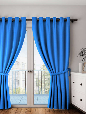 Lushomes Sky Diver Plain Cotton Curtains With 8 Eyelets for Long Door
