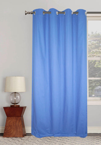 "Lushomes Ultra Soft & Premium Cotton Aqua Long Door Curtain with 8 metal eyelets and tieback, Size: 54""x108"" (single pc)"