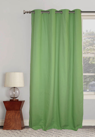 "Lushomes Ultra Soft & Premium Cotton Green Long Door Curtain with 8 metal eyelets and tieback, Size: 54""x108"" (single pc)"