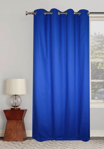 "Lushomes Ultra Soft & Premium Cotton Blue Long Door Curtain with 8 metal eyelets and tieback, Size: 54""x108"" (single pc)"