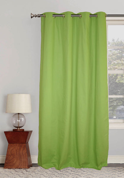 "Lushomes Ultra Soft & Premium Cotton Light Green Long Door Curtain with 8 metal eyelets and tieback, Size: 54""x108"" (single pc)"
