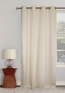 "Lushomes Ultra Soft & Premium Cotton Off-White Long Door Curtain with 8 metal eyelets and tieback, Size: 54""x108"" (single pc)"