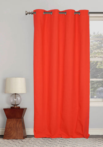 "Lushomes Ultra Soft & Premium Cotton Light Red Long Door Curtain with 8 metal eyelets and tieback, Size: 54""x108"" (single pc)"