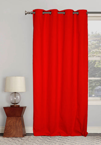 "Lushomes Ultra Soft & Premium Cotton Red Long Door Curtain with 8 metal eyelets and tieback, Size: 54""x108"" (single pc)"