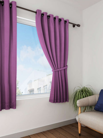 Lushomes Bordeaux Plain Cotton Curtains With 8 Eyelets for Windows