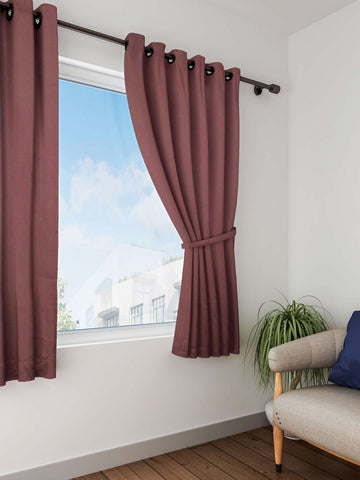 Lushomes French Roast Plain Cotton Curtains With 8 Eyelets for Windows