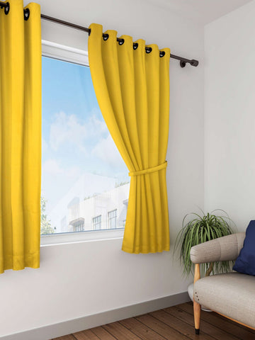 Lushomes Lemon Chrome Plain Cotton Curtains With 8 Eyelets for Windows