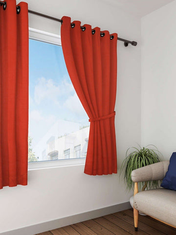 Lushomes Red Wood Plain Cotton Curtains With 8 Eyelets for Windows