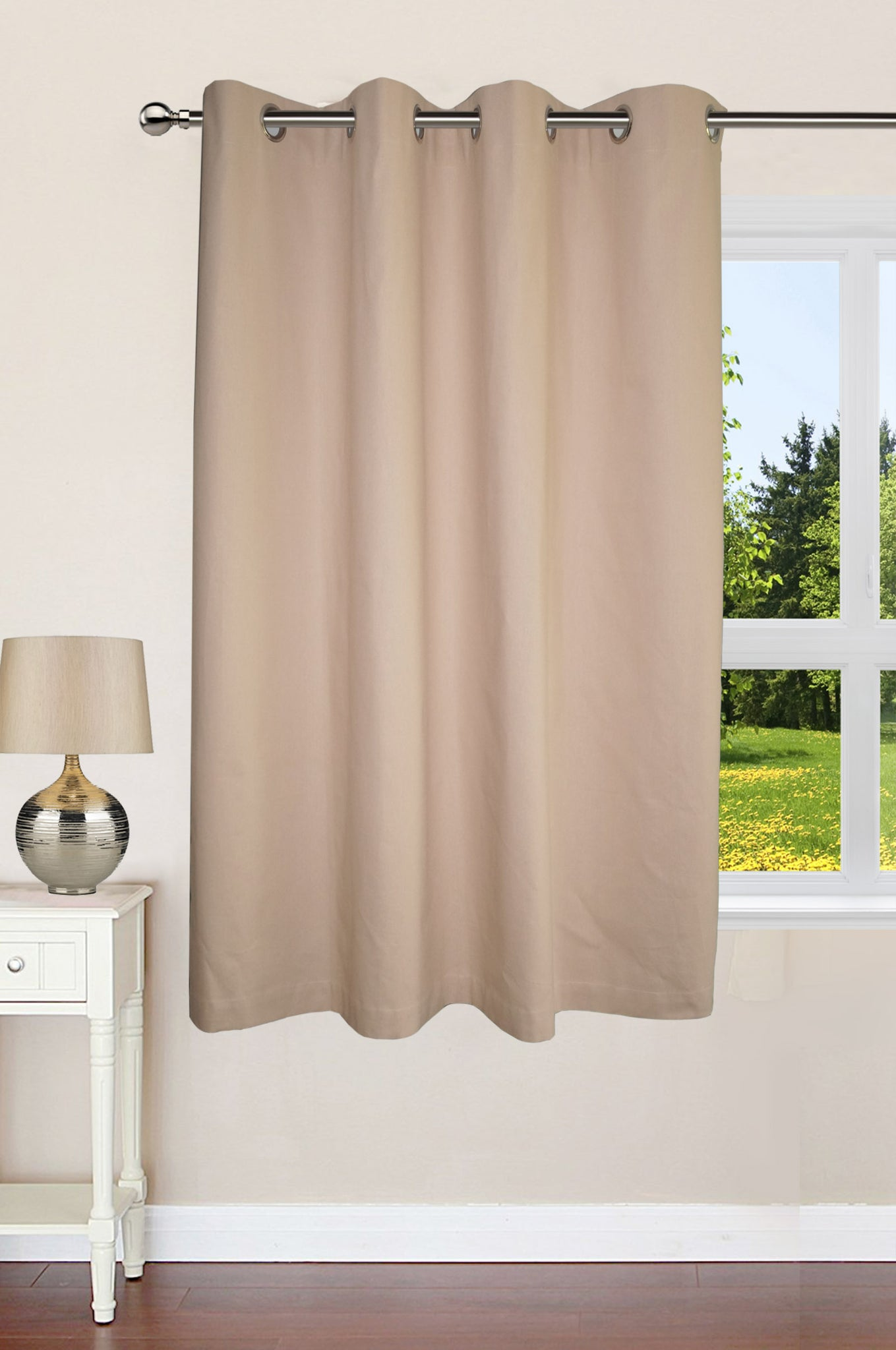 "Lushomes Ultra Soft & Premium Cotton Beige Window Curtain with 8 metal eyelets and tieback, Size: 54""x60"" (single pc)"