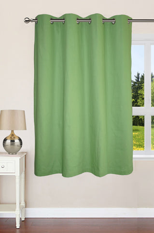 "Lushomes Ultra Soft & Premium Cotton Green Window Curtain with 8 metal eyelets and tieback, Size: 54""x60"" (single pc)"