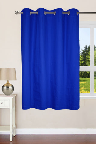 "Lushomes Ultra Soft & Premium Cotton Blue Window Curtain with 8 metal eyelets and tieback, Size: 54""x60"" (single pc)"