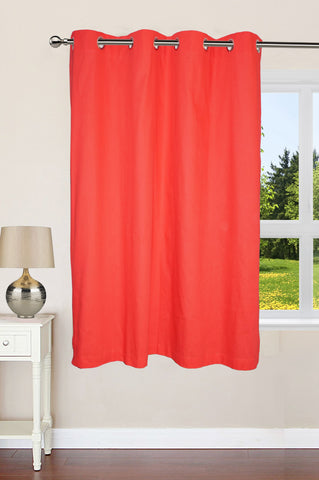 "Lushomes Ultra Soft & Premium Cotton Light Red Window Curtain with 8 metal eyelets and tieback, Size: 54""x60"" (single pc)"