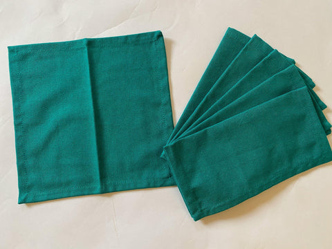 Lushomes Sea Green Cloth Cocktail Napkins folding for Homes Restaurant, Bar, Cafe, Or Events (Pack of 6, 9 inch x 9 inch) - Lushomes