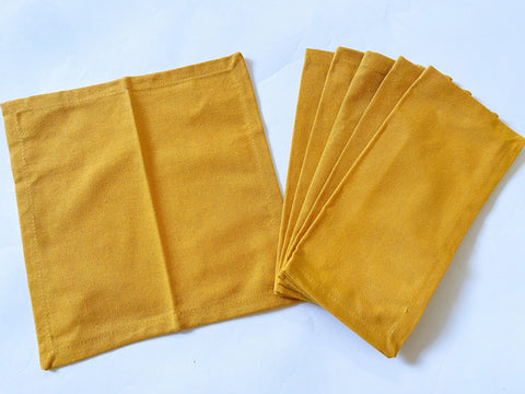 Lushomes Dark yellow Cloth Cocktail Napkins folding for Homes Restaurant, Bar, Cafe, Or Events (Pack of 6, 9 inch x 9 inch) - Lushomes