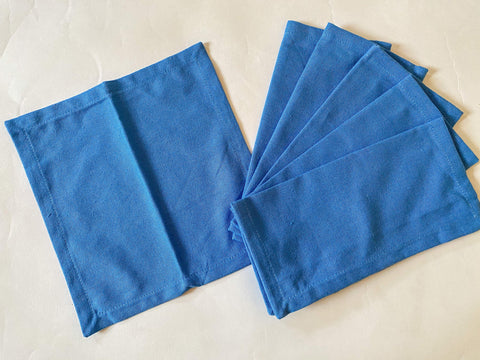 Lushomes Blue Cloth Cocktail Napkins folding for Homes Restaurant, Bar, Cafe, Or Events (Pack of 6, 9 inch x 9 inch) - Lushomes