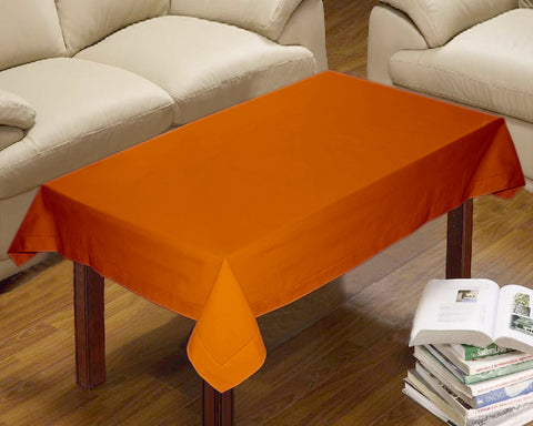 Lushomes Plain Sun Orange Button Centre Table Cloth