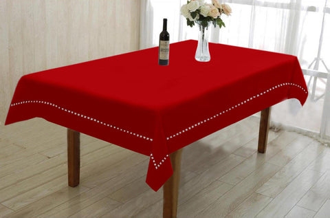Lushomes Red Premium Center Cotton Table Cloth with Ladder Lace (Size 90 x 150 cms, Single Pc)