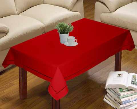 Lushomes Red Premium Center Cotton Table Cloth with Ladder Lace (Size 90 x 150 cms, Single Pc) - Lushomes