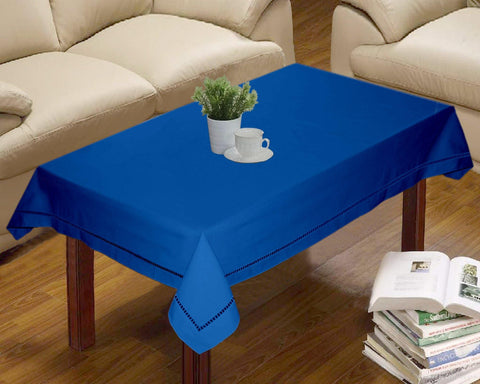 Lushomes Blue Premium Center Cotton Table Cloth with Ladder Lace (Size 90 x 150 cms, Single Pc) - Lushomes