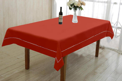 Lushomes Light Red Premium Center Cotton Table Cloth with Ladder Lace (Size 90 x 150 cms, Single Pc)