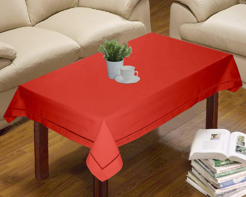Lushomes Light Red Premium Center Cotton Table Cloth with Ladder Lace (Size 90 x 150 cms, Single Pc) - Lushomes