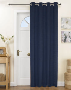 Lushomes Fabiana Navy Blue Curtains with Coordinating Tie Back For Door (Single pc)