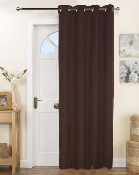 Lushomes Fabiana Brown Curtains with Coordinating Tie Back For Door (Single pc)