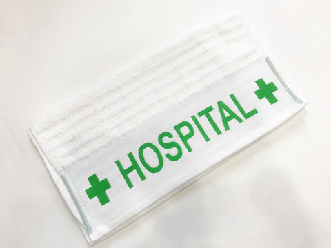 "Lushomes  White with Green Border 100 % cotton super Absorbant Hospital Towel 40 x 80 cms (16 x 32""�, 550 GSM Towel) - Lushomes"