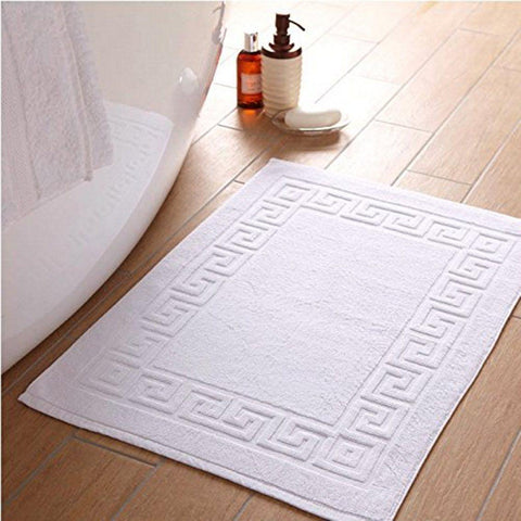 Lushomes Super Soft 100% Cotton Hotel and Spa Bathmat with Greek Border (Single Pc, Pure White) - Lushomes