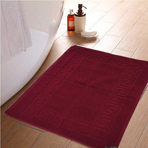 Lushomes Maroon Super Soft 100% Terry Cotton Hotel and Spa Bathmat with Greek Border (Single Pc) - Lushomes