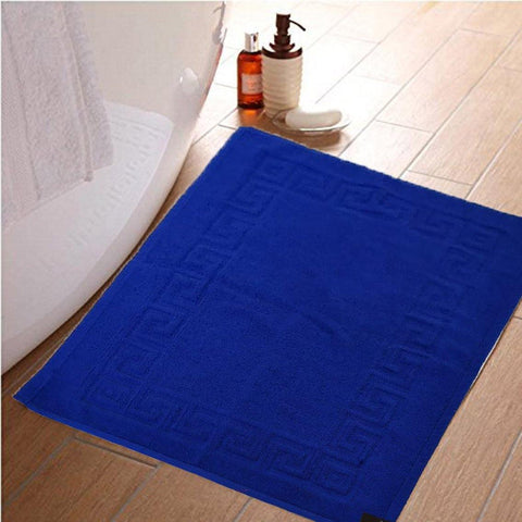 Lushomes Royal Blue Super Soft 100% Terry Cotton Hotel and Spa Bathmat with Greek Border (Single Pc) - Lushomes