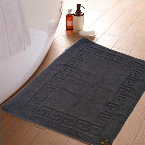 Lushomes Steel Grey Super Soft 100% Terry Cotton Hotel and Spa Bathmat with Greek Border (Single Pc) - Lushomes